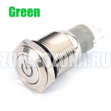 Кнопка с фиксацией, водонепроницаемая, с зелёной LED подсветкой, на 12 вольт. Купить недорого в Москве.
