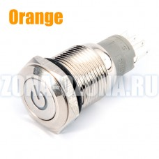 Кнопка с фиксацией, водонепроницаемая, на 12 вольт, с оранжевой LED подсветкой. Купить недорого в Москве.