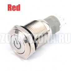 Кнопка с фиксацией, водонепроницаемая, на 220 вольт, с красной LED подсветкой. Купить недорого в Москве.