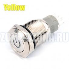 Кнопка с фиксацией, водонепроницаемая, с жёлтой LED подсветкой, на 12 вольт. Купить недорого в Москве.