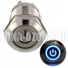 Кнопка без фиксации, водонепроницаемая, с голубой LED подсветкой 12V.