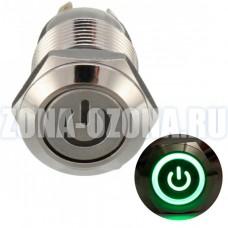 Кнопка без фиксации, водонепроницаемая, с зелёной LED подсветкой 220V. Купить недорого в Москве.