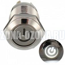 Кнопка без фиксации, водонепроницаемая, с белой LED подсветкой 12V. Купить недорого в Москве.